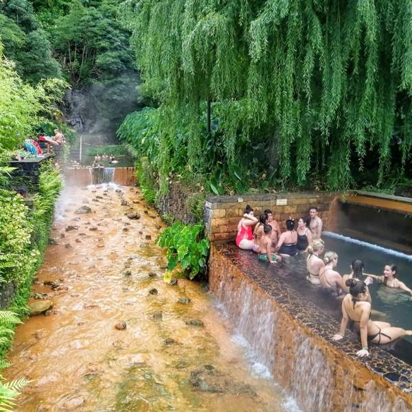 The relaxing hot springs of the Furnas valley