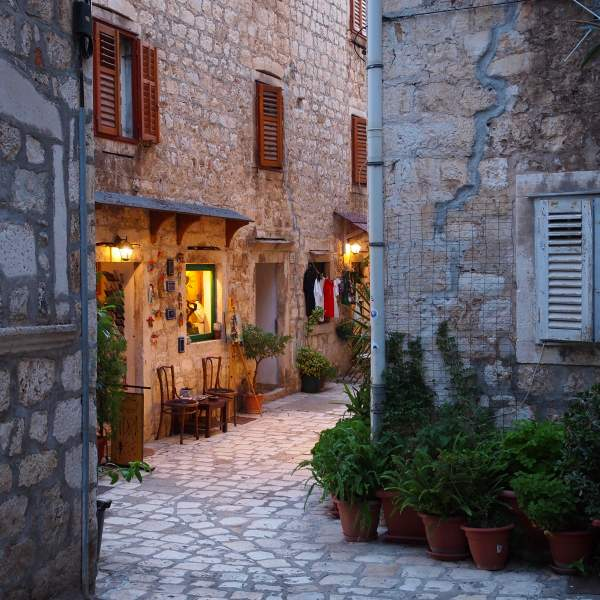 In the cobbled streets of Hvar